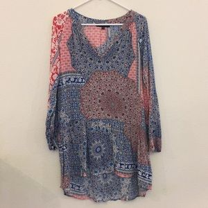Red/white/blue print drop waist tunic-dress